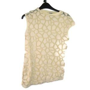 Gracia Stone Pebble Shirt Cap Sleeve Ivory Small